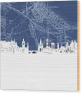 Edinburgh Skyline Map Blue Wood Print