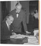 Edwin A. Halsey Signing War On Japan Wood Print