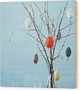 Egg-shaped Decorations On Branches Wood Print