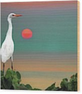 Egret At Evening Wood Print
