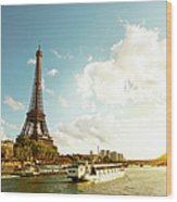 Eiffel Tower And The River Seine Wood Print