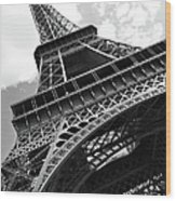 Eiffel Tower In Black And White Wood Print