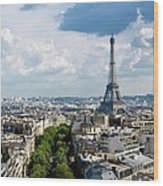 Eiffel Tower View From Arc De Triomphe Wood Print