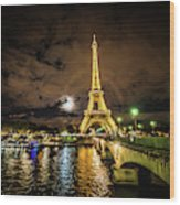 Eiffell Tower At Night After The Storm Passed Wood Print