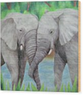 Elephant Couple Wood Print
