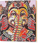 Elephant Face Wood Print