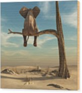 Elephant Stands On Thin Branch Of Wood Print