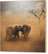 Elephants At Sunset 072 - Painting Wood Print