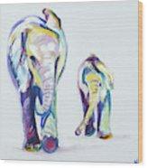 Elephants Side By Side Wood Print