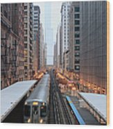 Elevated Commuter Train In Chicago Loop Wood Print
