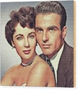 Elizabeth Taylor And Montgomery Clift, Hollywood Legends Wood Print