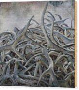 Elk Antlers Digital Art Wood Print