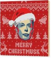 Elon Musk Merry Christmusk Wood Print