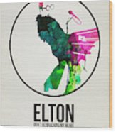 Elton Watercolor Poster Wood Print