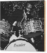 Elvin Jones On Drums Wood Print