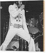 Elvis Presley On Stage During His 1972 Wood Print