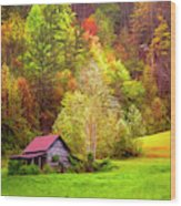 Embraced In Autumn Color Painting Wood Print