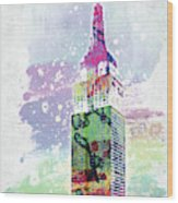 Empire State Building Colorful Watercolor Wood Print