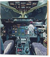 Empty Aeroplane Cockpit Wood Print