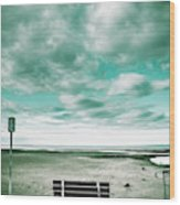Empty Beach Bench Wood Print