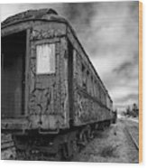 End Of The Line Bw Wood Print