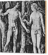Engraving Of Adam And Eve Wood Print