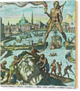 Engraving Of The Colossus Of Rhodes Wood Print