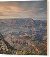 Epic Sunset Over Grand Canyon South Rim Wood Print