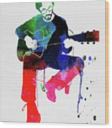 Eric Clapton Watercolor Wood Print