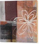 Espresso Flower 1-  Art By Linda Woods Wood Print