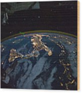 Italy From Space At Night Wood Print