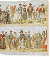 European Costumes Lithograph 1897 Wood Print