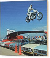 Evel Knievel In Flight Wood Print