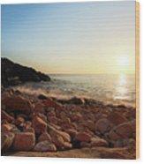 Evening Glow At Porth Nanven Wood Print