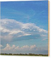 Evening Supercell And Lightning 004 Wood Print