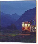 Evening Train Wood Print