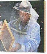 Experienced Senior Beekeeper Making Wood Print