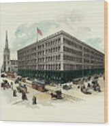 Exterior Of A T Stewart Department Store Wood Print