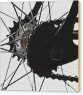 Extreme Close Up Of Chain And Spokes Wood Print