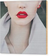 Face Of A Beautiful Girl With Red Lips Wood Print