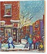 Face Off Street Hockey At The Corner Dep Snow Falling Streets Of Montreal Quebec Artist C Spandau Wood Print