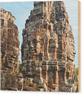 Faces On Bayon Temple Cambodia Wood Print