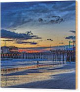 Fading To The Blue Hour - Ferris Wheel Wood Print