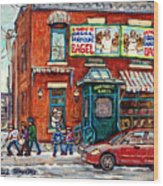 Fairmount Bagel Bakery Laneway Hockey Art Depanneur Winter Scenes C Spandau Montreal Landmark Stores Wood Print