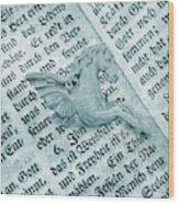 Fairytale Theme With Pegasus Horse Wood Print