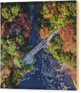 Fall Aerial With Bridge Wood Print
