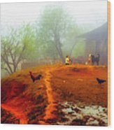 Family On A Hill In Sapa, Vietnam Wood Print