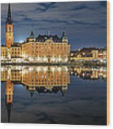 Fantastic Stockholm City Hall And Gamla Stan Reflection With Clouds Wood Print