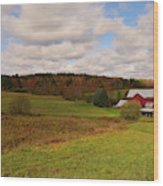 Farmland In Autumn Wood Print