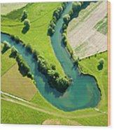 Farmland Patchwork, Aerial View Wood Print